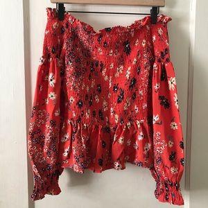 H&M Red Floral Off Shoulder Cropped Smock Top